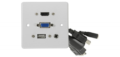 AV Link Multimedia Wall plate with HDMI, VGA, USB and 3.5mm Audio Sockets