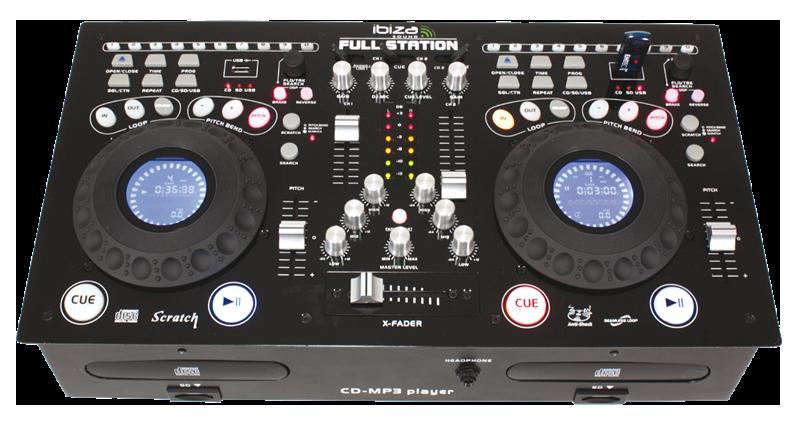 Ibiza full station professional twin cd usb sd mixing console - Table de mixage ibiza mix 800 ...