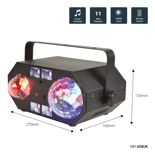QTX Tetra LED Moon Flower, Ripple, Strobe, UV and Laser
