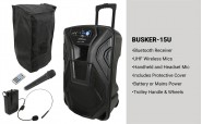 QTX Busker-12U Portable PA Units with Bluetooth and UHF Microphone PACKAGE
