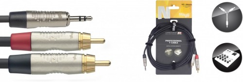 Stagg 3.5mm Jack Y Lead to 2 Phono Plugs 3m (10 ft)